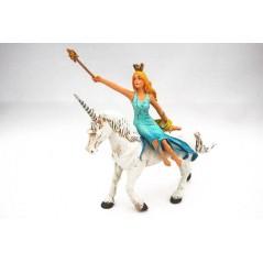 Figura Hada azul sobre unicornio (plastoy)