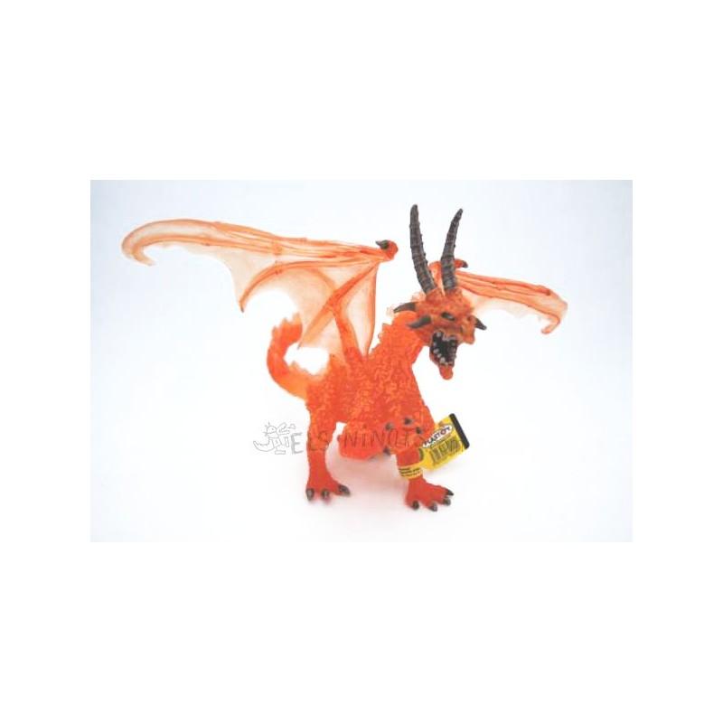 Figura Gran Dragón de fuego translúcido (Plastoy)