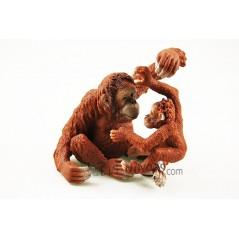 Figura Orangután Hembra con cría Schleich