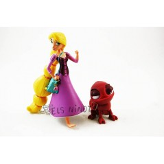 Figuras Rapunzel con Pascal granate